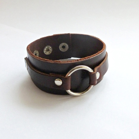 Men S Circle Leather Cuff Bracelet