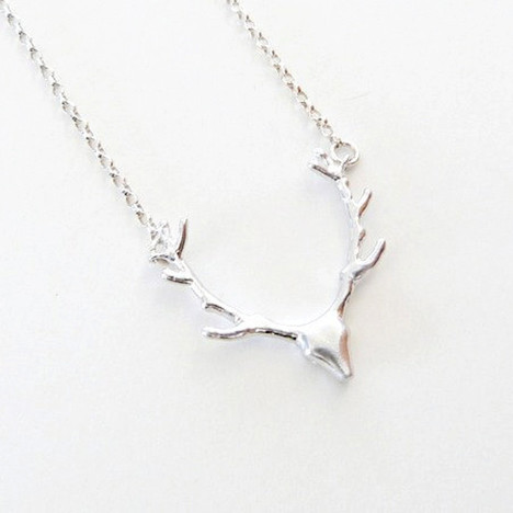 Small Sterling Silver Antler Necklace