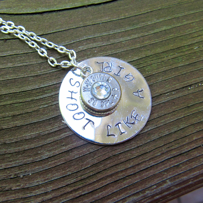 Shoot Like A Girl Hand Stamped Bullet Necklace Taste Of