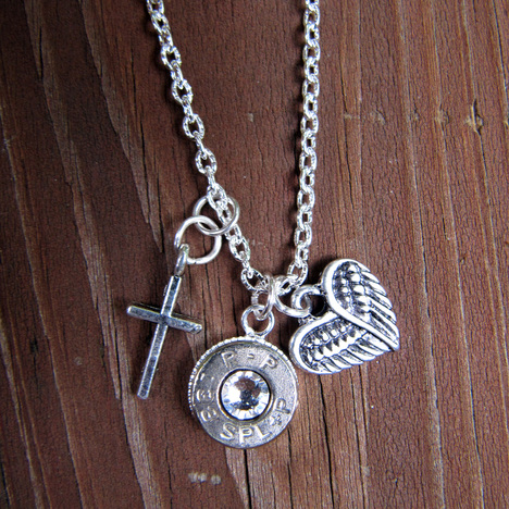 Women's .38 Bullet Necklace with Heart Angel Wing and Tiny Cross Charm