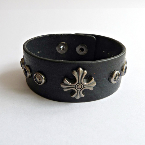Unisex Studded Cross Cuff