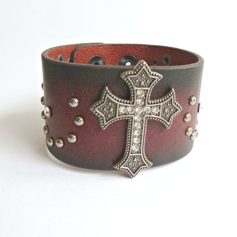 Women's Diamond Studded Cross Leather Cuff