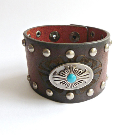 Women's Leather and Turquoise Studded Cuff
