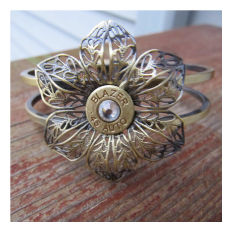 Antique Bronze Flower .45 Bullet Cuff With Swarovski Crystal Accents
