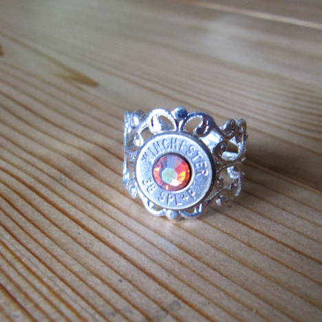 .38 Special Bullet Ring With Rainbow Padparadscha Swarovski Crystals