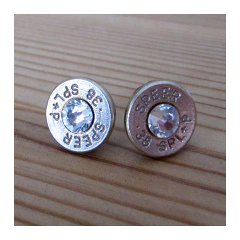 .38 Caliber Stud Earrings With Crystal Accents