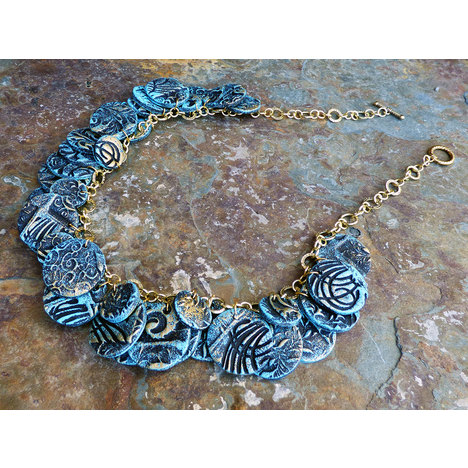Faded Denim Necklace