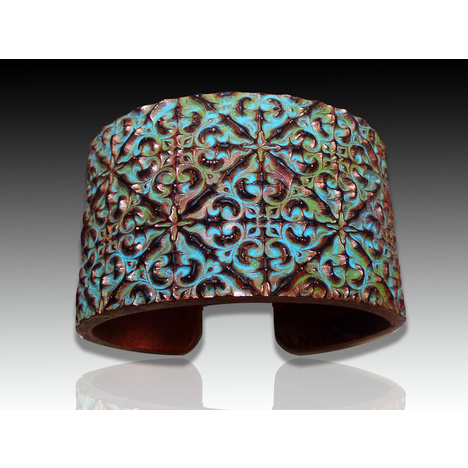 Spanish Tile Polymer Clay Bracelet Cuff