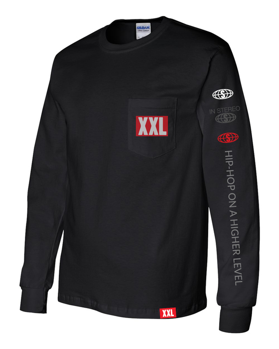 afc6c59c33 XXL Logo Pocket Long Sleeve T-Shirt - Black
