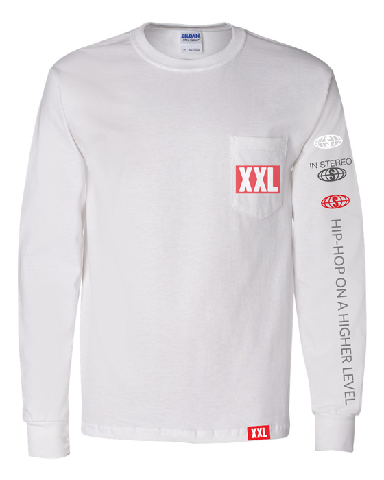 f856edc61a XXL Logo Pocket Long Sleeve T-Shirt - White