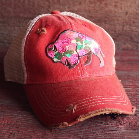 Buffalo Rose Cap - Red Wash