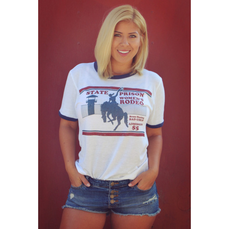 State Prison Women's Rodeo Vintage Ringer T-Shirt