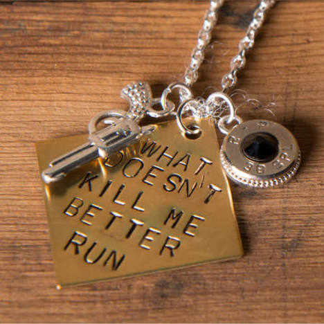 What Doesn't Kill Me Better Run Handstamped Bullet Necklace