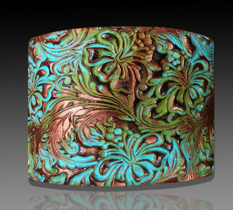 Beautiful Hibiscus Polymer Clay Cuff Bracelet