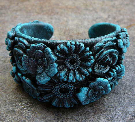 Frosted Flowers Polymer Clay Cuff Bracelet