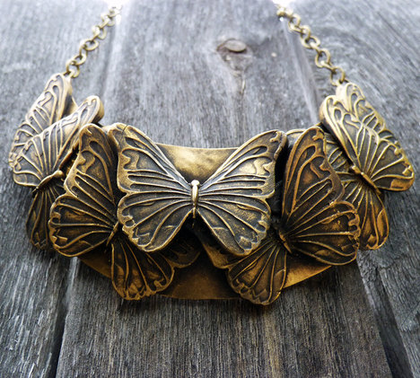 Old Gold Butterflies Bib Necklace