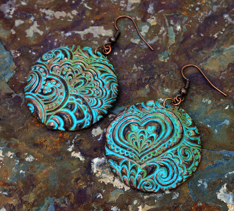Doodle Hearts Polymer Clay Earrings